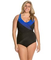 Longitude Plus Size Brian's Ombre Wrap Front Tank One Piece