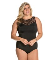 Longitude Plus Size Sheer Love Highneck One Piece Swimsuit