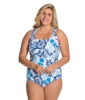 Longitude Plus Size Royal Scroll Crossback Tank One Piece