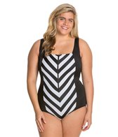 Longitude Plus Size All Lined Up Squareneck Tank One Piece Swimsuit
