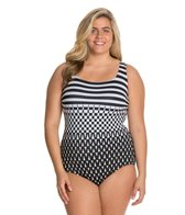 Longitude Plus Size Funhouse X Back Tank One Piece Swimsuit