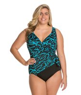 Longitude Plus Size Noon Tide Side Tie Surplice One Piece Swimsuit