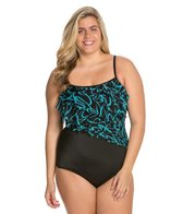 Longitude Plus Size Noon Tide Tiered Tank One Piece