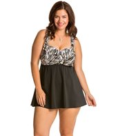 Longitude Plus Size Brush Strokes Swimdress