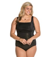 Longitude Plus Size Gold Rush Squareneck Tank One Piece Swimsuit
