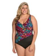 Longitude Plus Size Continental Shirred Wrap One Piece