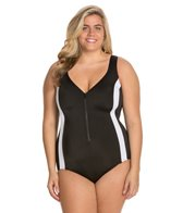 Longitude Plus Size Colorblock Zip Front Tank One Piece Swimsuit