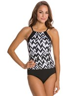 Jag Maldives Stripe Hi Neck One Piece Swimsuit