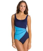 Gabar Coast Line Draped Sash Tank One Piece Swimsuit