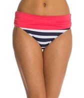 Beach House Ship Shape Stripe Fold Over Shirred Bikini Bottom