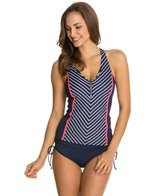 Beach House Ship Shape Stripe Racerback Zip Front Tankini Top