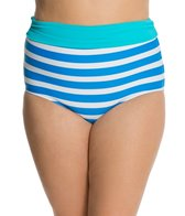 Beach House Plus Ship Shape Stripe Fold Over High Waist Bottom