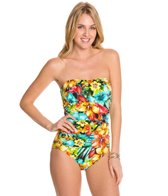 Penbrooke Hot Tropics Tie Back Keyhole Bandeau One Piece Swimsuit