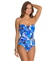 Penbrooke Cool Hues V Wire Bandeau One Piece Swimsuit
