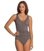 Penbrooke Krinkle Mock Surplice One Piece Swimsuit