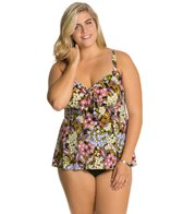 Penbrooke Plus Size Piccadilly Bow Front Fauxkini One Piece Swimsuit