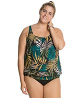 Penbrooke Plus Size Raindance Shirred Neck Blouson Underwire Top