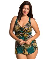 Penbrooke Plus Size Raindance Cross Over Sarong One Piece Swimsuit
