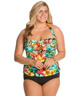 Penbrooke Plus Size Hot Tropics Glam Halter Top