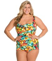 Penbrooke Plus Size Hot Tropics Glam Girl Leg One Piece Swimsuit