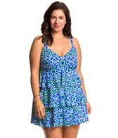 Penbrooke Plus Size Fancy Flight Triple Tier Swimdress