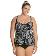 Penbrooke Plus Size Queen's Lace Ruffle Bottom Top