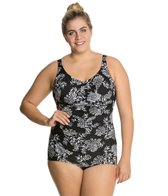 Penbrooke Plus Size Queen's Lace Shirred Front Girl Leg One Piece