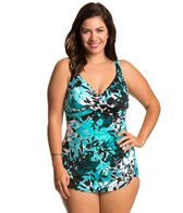 Penbrooke Plus Size Barcelona Cross Over Sarong One Piece Swimsuit