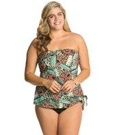 Penbrooke Plus Size Mayan Riviera Bandeau Fauxkini One Piece Swimsuit