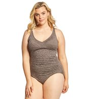 Penbrooke Plus Size Krinkle Mock Surplice One Piece