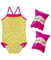 Jump N Splash Girls' Hearts One Piece w/FREE Arm Band Floaties (2T-4T)