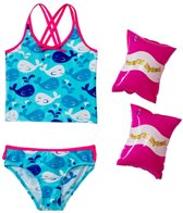 Jump N Splash Girls' Whale Crossback Tankini Set w/FREE Arm Band Floaties (2T-4T)