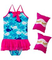 Jump N Splash Girls' Whale Tutu One Piece w/FREE Arm Band Floaties (2T-4T)
