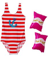 Jump N Splash Girls' Anchor One Piece w/FREE Arm Band Floaties (2T-4T)