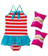 Jump N Splash Girls' Stripe Tutu One Piece w/FREE Arm Band Floaties (2T-4T)