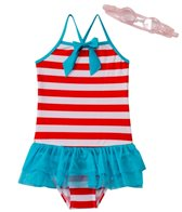 Jump N Splash Girls' Stripe Tutu One Piece w/FREE Goggles (4-6)