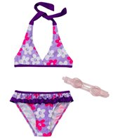 Jump N Splash Girls' Daisies Bikini Set w/FREE Goggles (4-6)