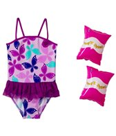 Jump N Splash Girls' Butterfly Tutu One Piece w/FREE Arm Band Floaties (2T-4T)