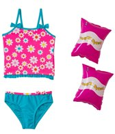 Jump N Splash Girls' Flower Power Tankini Set w/FREE Arm Band Floaties (2T-4T)