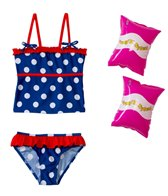 Jump N Splash Girls' Polka Dot Tankini Set w/FREE Arm Band Floaties (2T-4T)