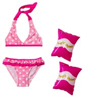 Jump N Splash Girls' Pink Polka Dot Bikini Set w/FREE Arm Band Floaties (2T-4T)