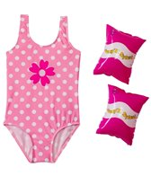 Jump N Splash Girls' Pink Polka Dot One Piece w/FREE Arm Band Floaties (2T-4T)