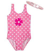 Jump N Splash Girls' Pink Polka Dot One Piece w/FREE Goggles (4-6)