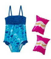 Jump N Splash Girls' Blue Heart Ruffle One Piece w/FREE Arm Band Floaties (2T-4T)