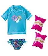 Jump N Splash Girls' Flower S/S Rashguard Set w/FREE Arm Band Floaties (2T-4T)