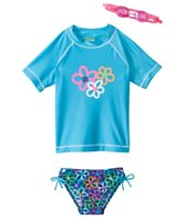 Jump N Splash Girls' Flower S/S Rashguard Set w/FREE Goggles (4-6)