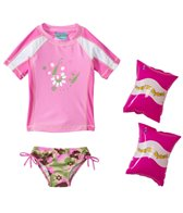 Jump N Splash Girls' Camo S/S Rashguard Set w/FREE Arm Band Floaties (2T-4T)
