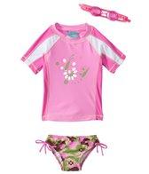 Jump N Splash Girls' Camo S/S Rashguard Set w/FREE Goggles (4-6)