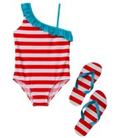 Jump N Splash Girls' Stripe One Shoulder One Piece w/FREE Flip Flops (7-14)
