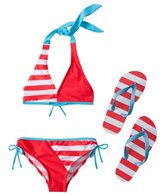 Jump N Splash Girls' Stripe Bikini Set w/FREE Flip Flops (7-14)